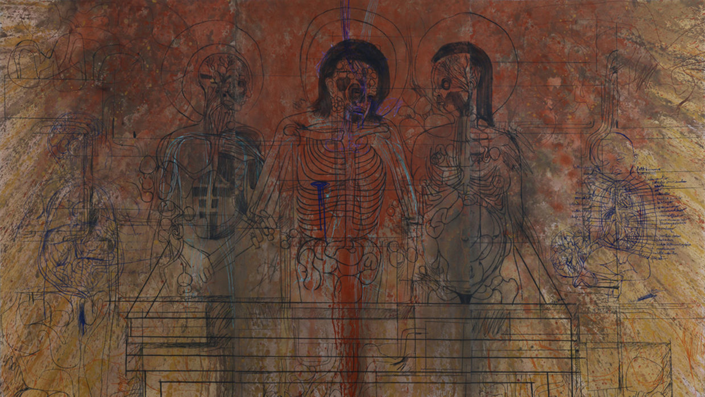 Hermann Nitsch, Grablegung, Druckgrafik auf Papier, 2006